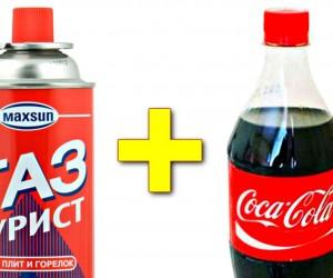 プロパンガスとコーラを組み合わせた超危険な実験