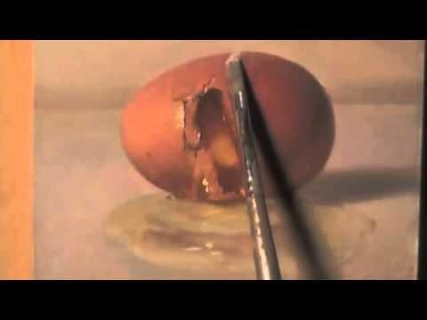 絵の卵を割って中身を取り出す神技動画