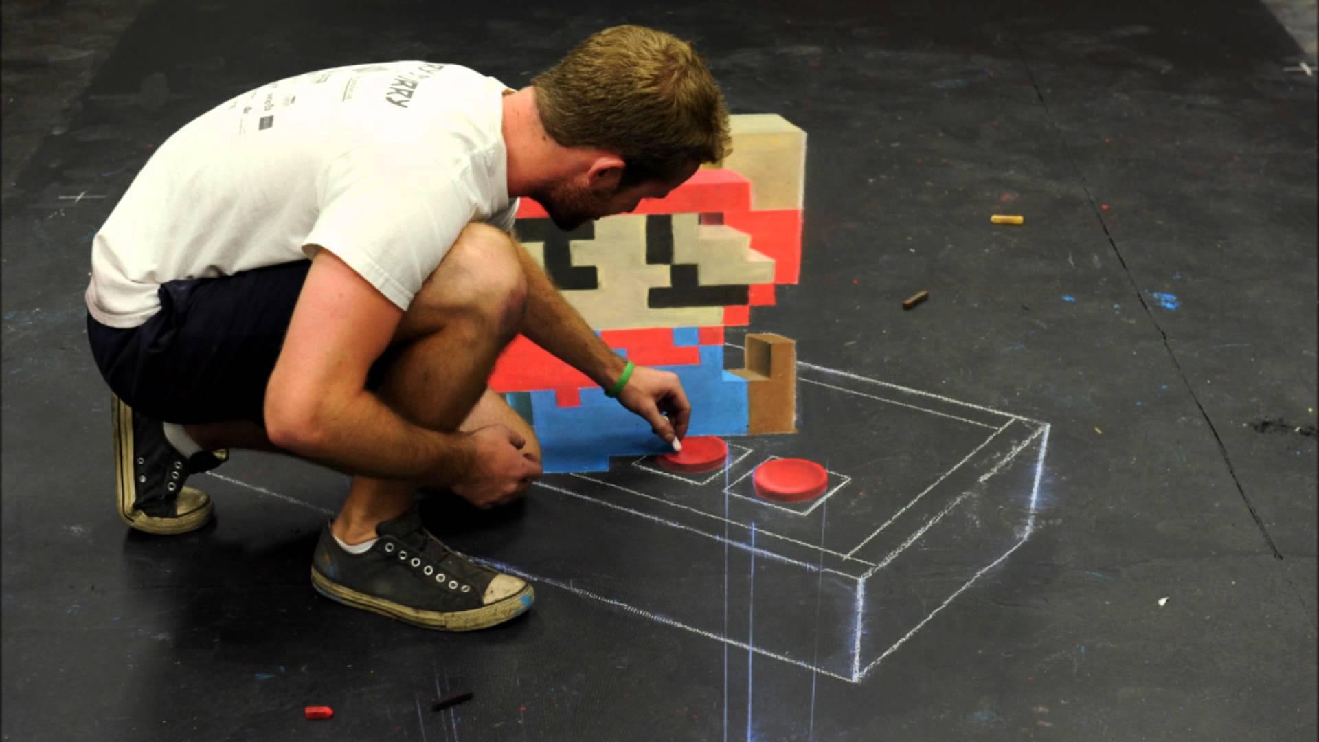 【地味にすごい】3Dチョークアートでマリオを書いてみた!