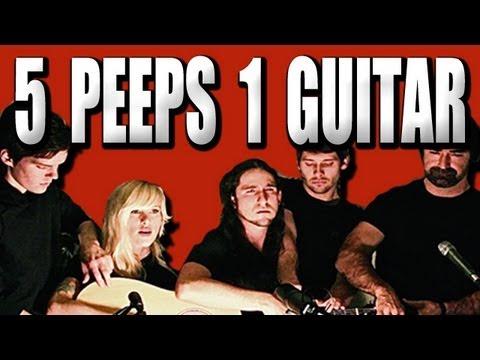【神技】5人で1本のギターを演奏する動画
