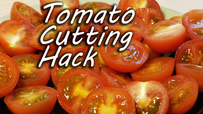 発想がすごい! 大量のプチトマトをいっぺんに半分に切る方法