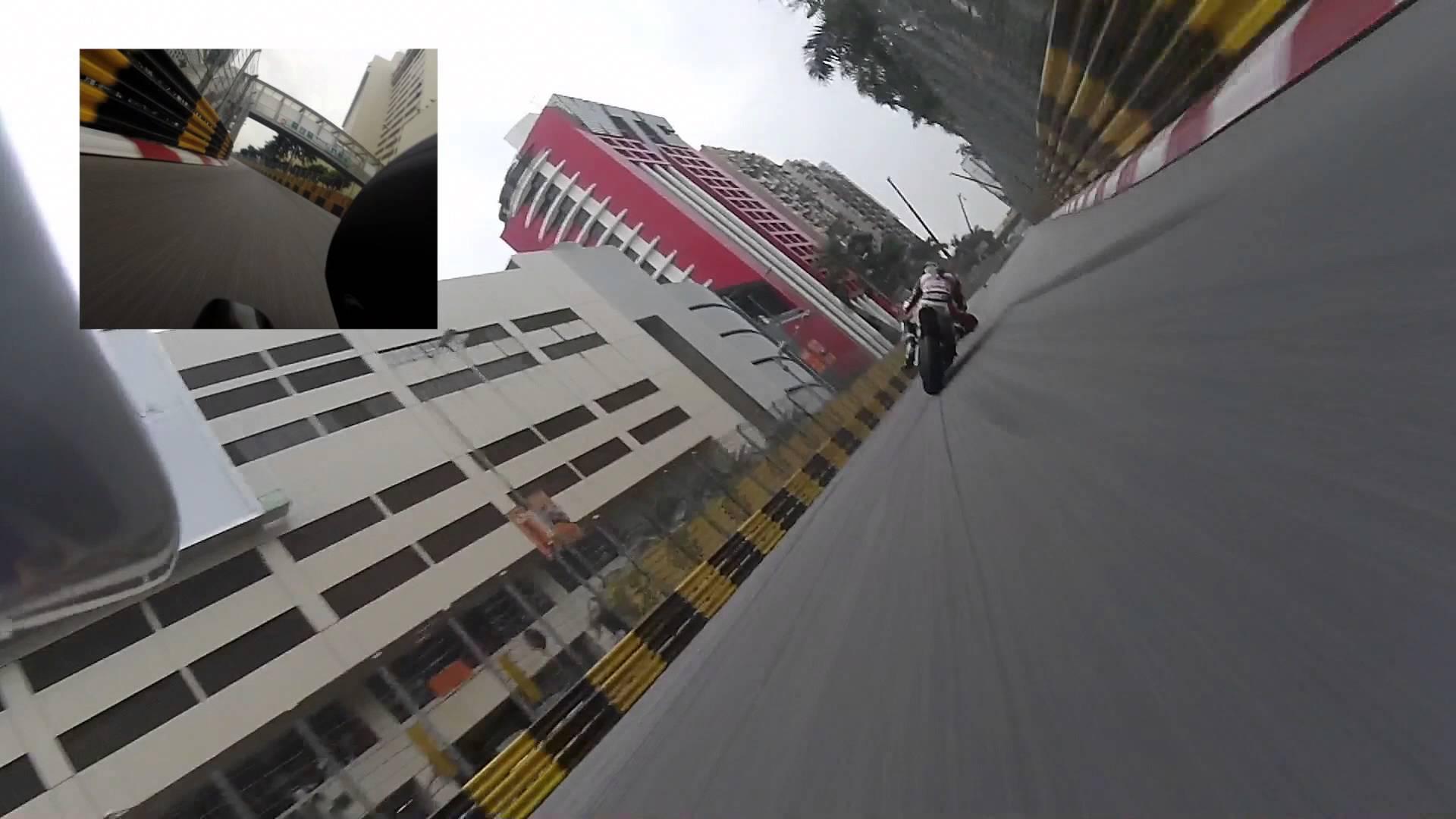 迫り来る壁の恐怖! バイクレースマカオGPのレーサー視点映像