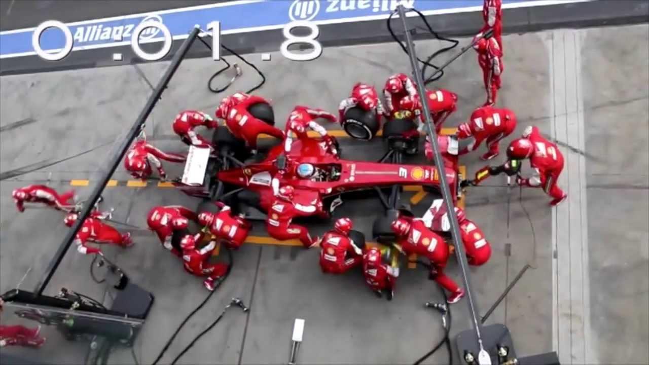 スロー再生しても十分早い、F1フェラーリのピットストップ作業