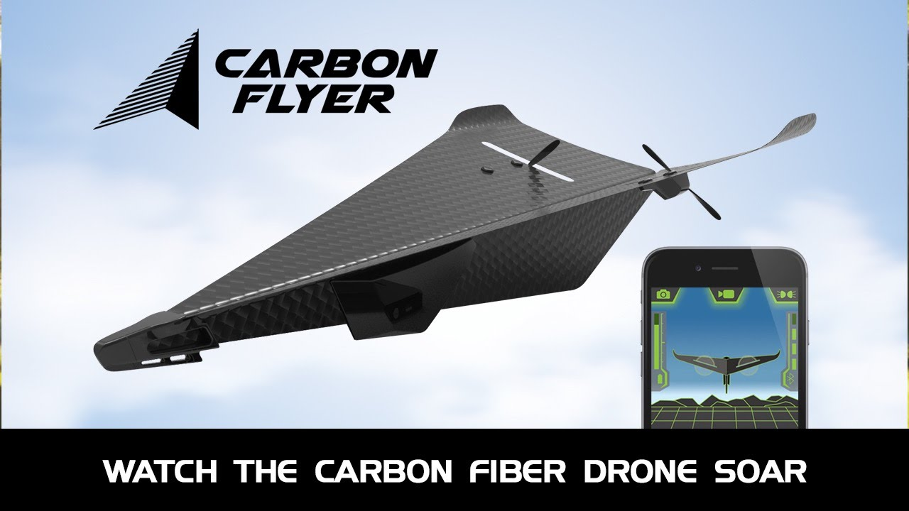 カーボンファイバー製の紙飛行機みたいなドローン